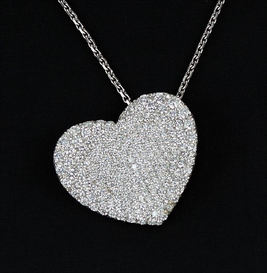 A Diamond Heart Pendant Necklace.