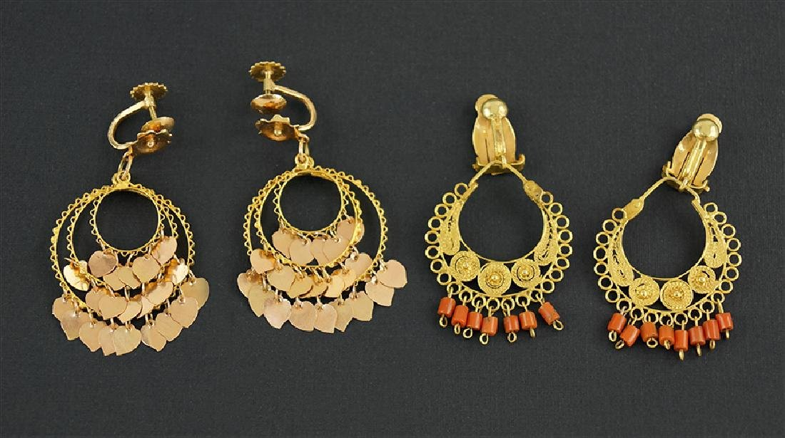 Two Pairs of 14 Karat Yellow Gold Earrings.