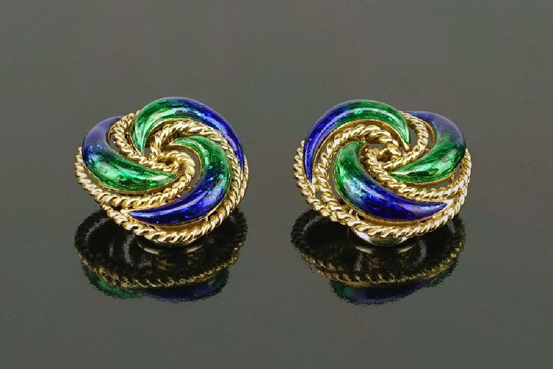 A Pair of Italian Enamel Earclips.