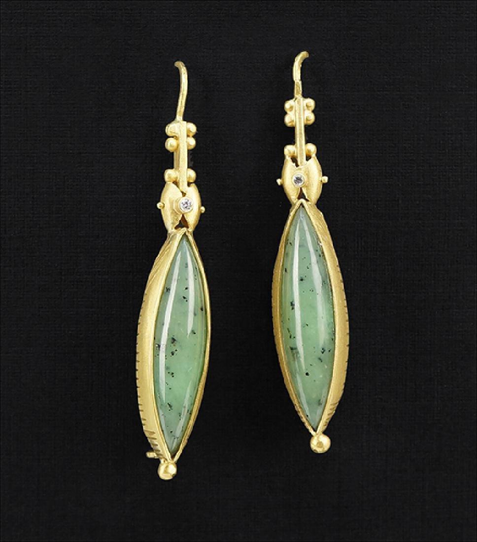 A Pair of Jade and Diamond Earrings.