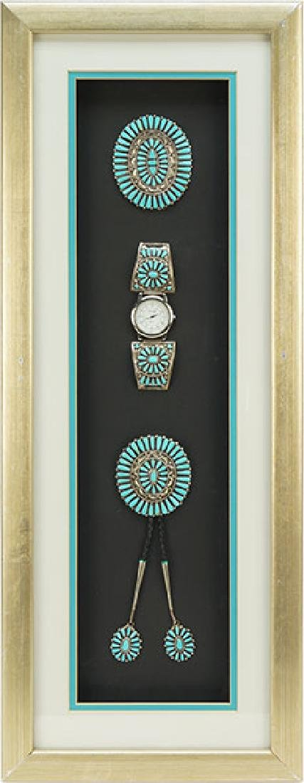 A Framed Suite of Native American Turquoise Jewelry.