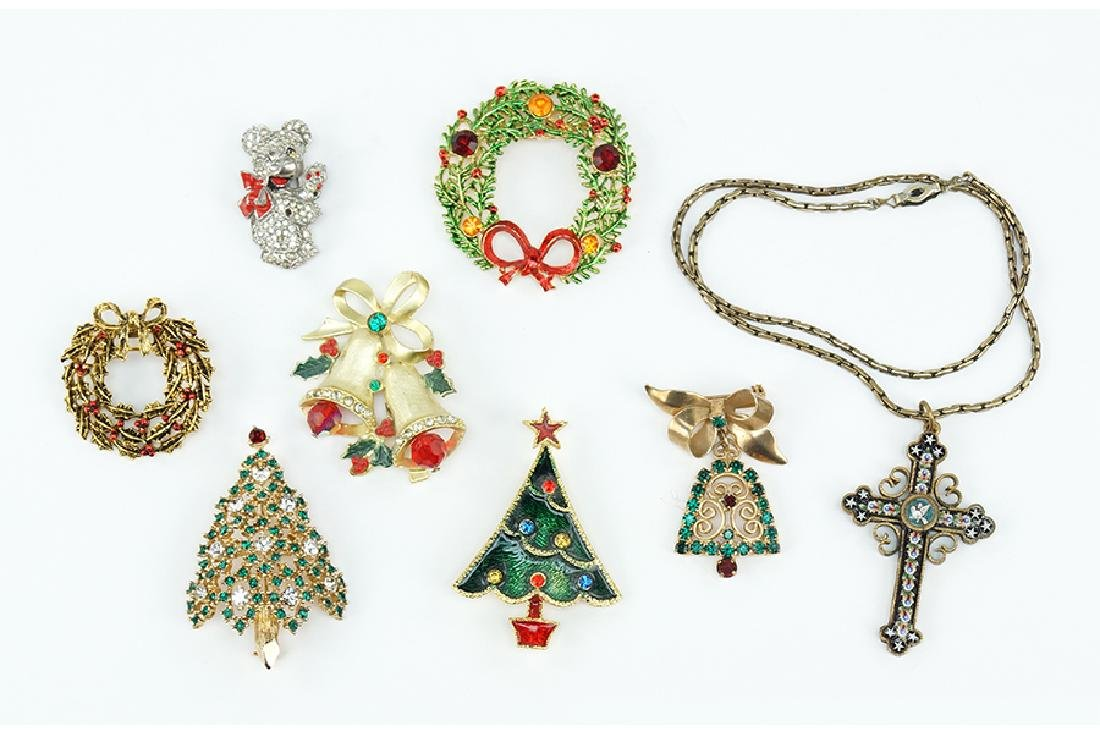 A Collection of Christmas Pins.