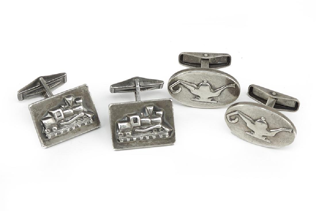 Two Pairs of Sterling Silver Cufflinks.
