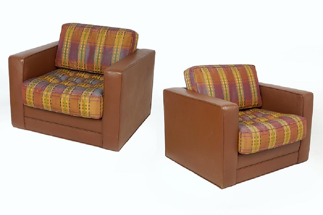 A Pair of Leather Club Chairs.