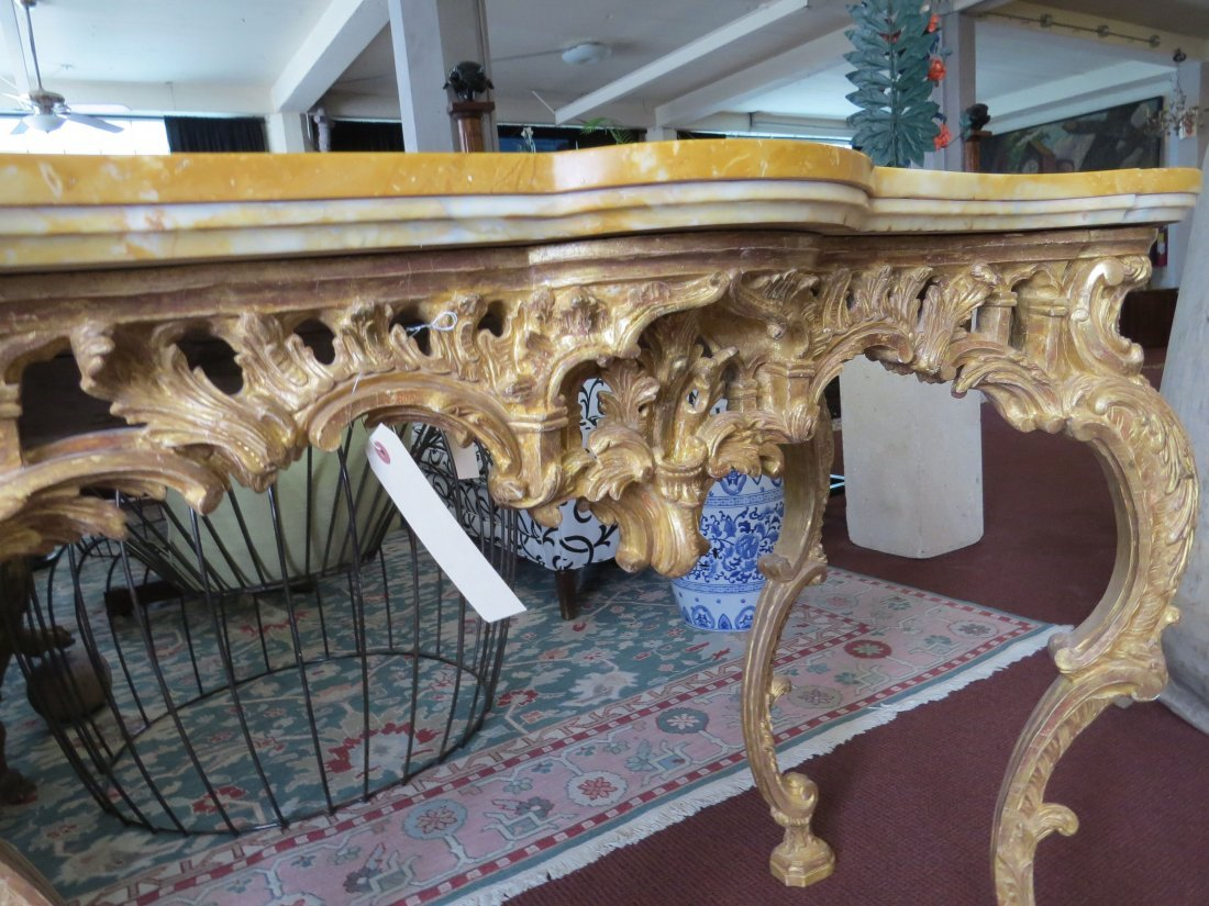 A George III Rococo Giltwood Console Table. - 10
