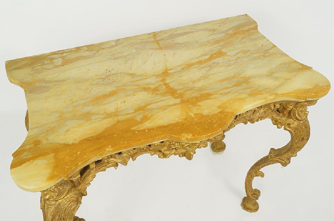 A George III Rococo Giltwood Console Table. - 4