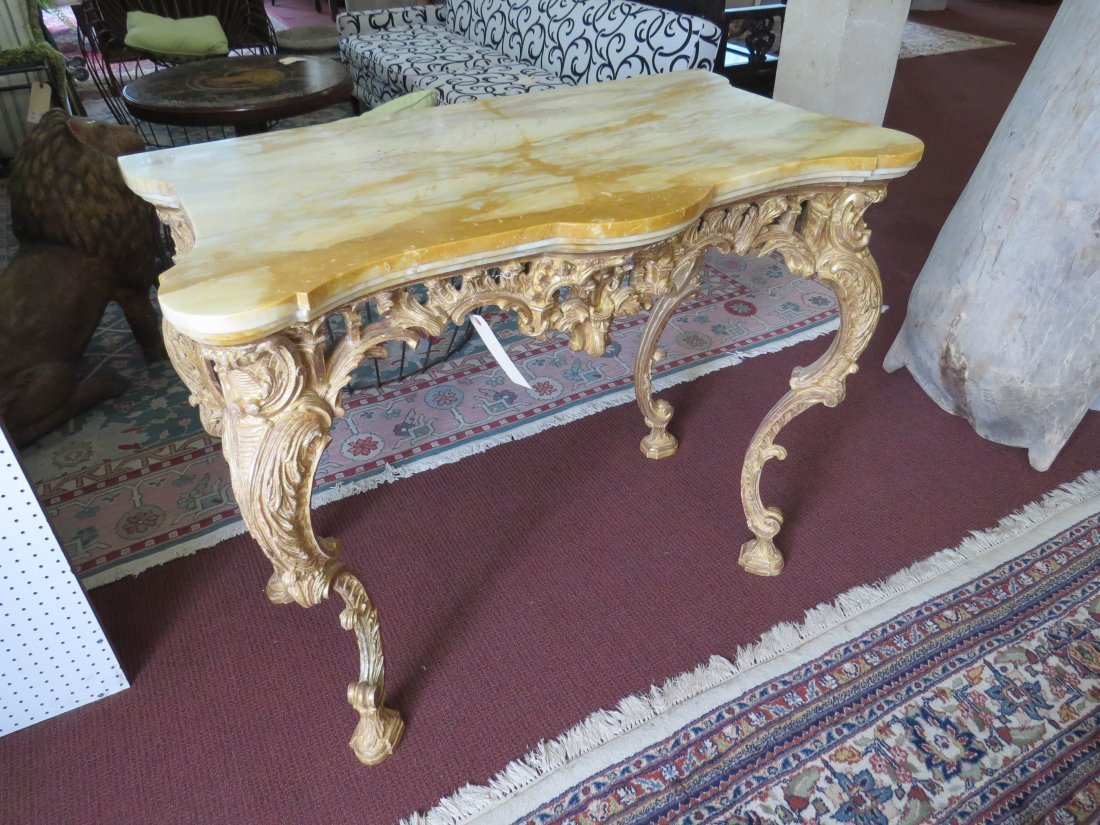 A George III Rococo Giltwood Console Table. - 5