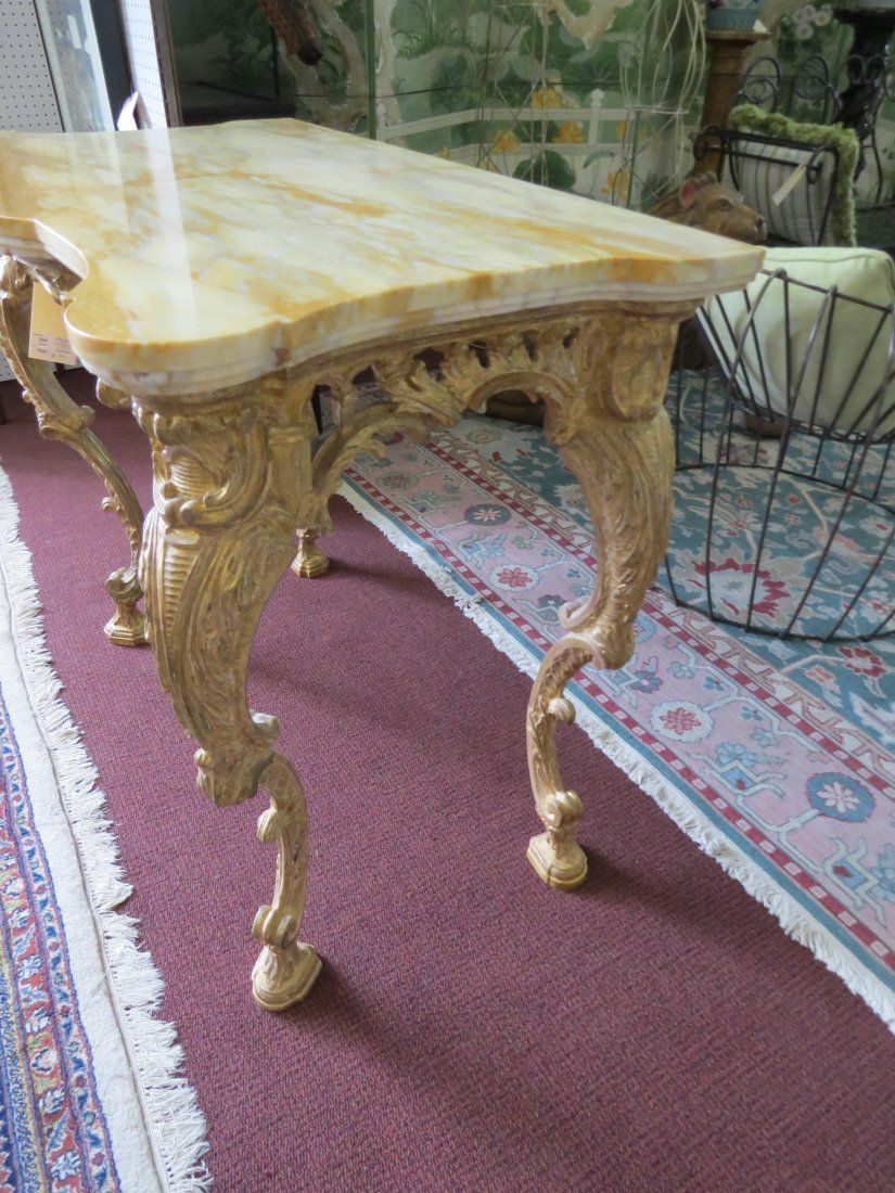 A George III Rococo Giltwood Console Table. - 6