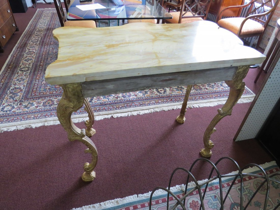 A George III Rococo Giltwood Console Table. - 7