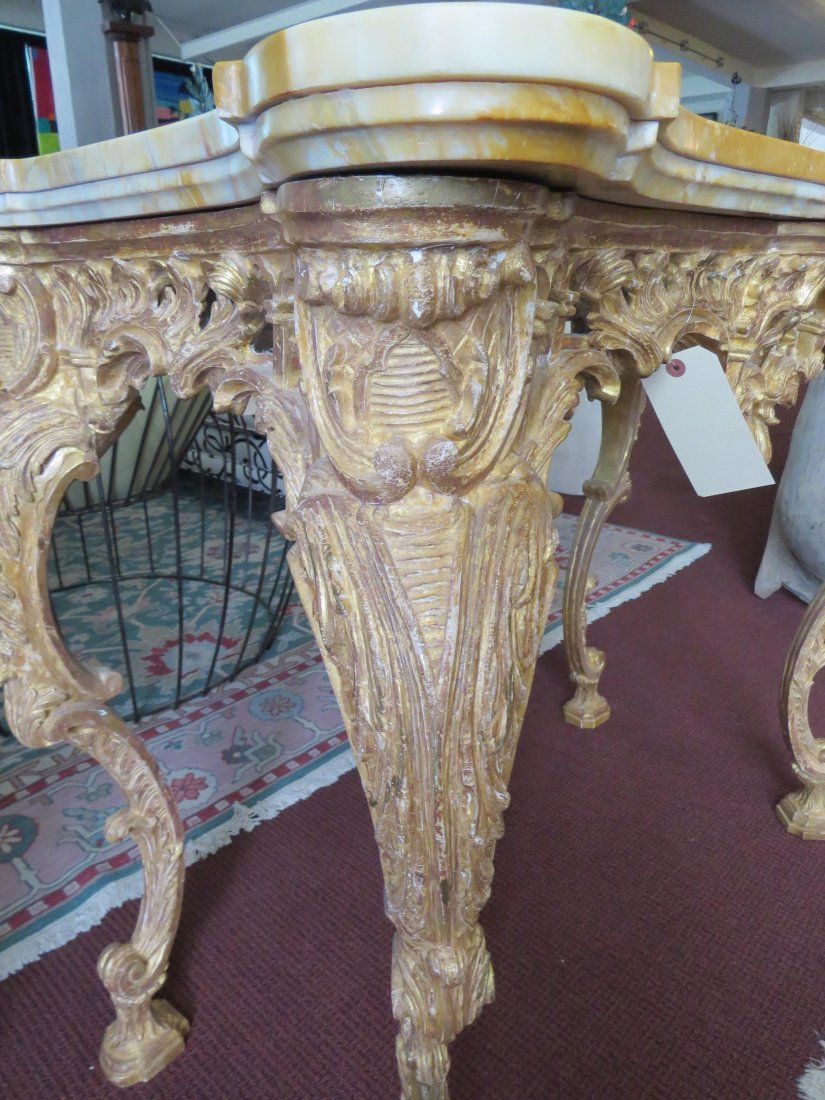 A George III Rococo Giltwood Console Table. - 8