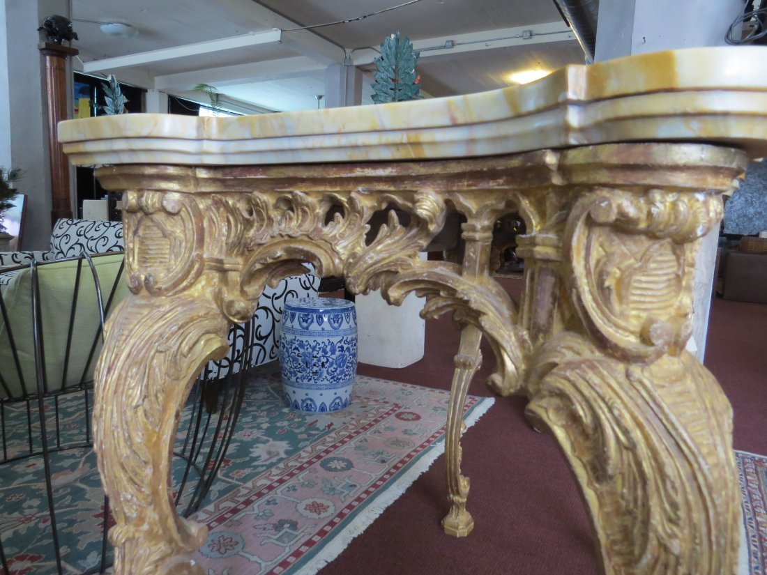 A George III Rococo Giltwood Console Table. - 9
