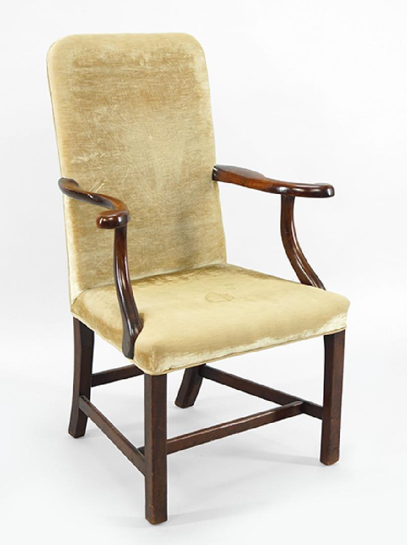A Georgian Mahogany Open Armchair.