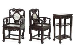 A Chinese Carved Hardwood and Marble Parlor Suite.