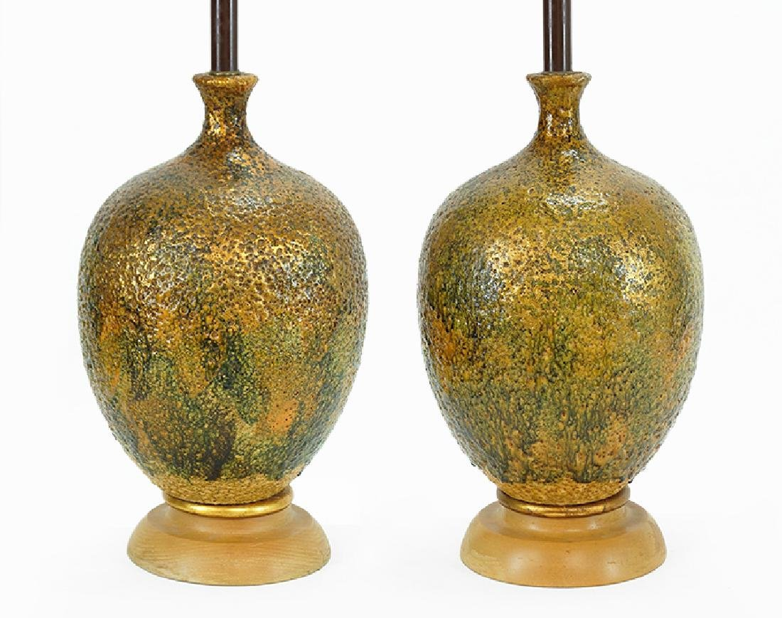 A Pair of Glazed Ceramic Table Lamps.