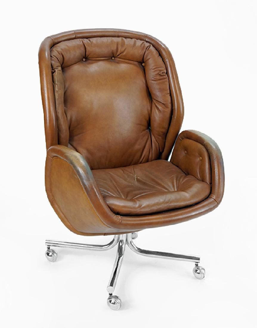 A Leather and Chrome Office Chair.