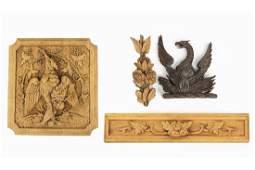 A Carved Wood Hunt Cabinet Panel.