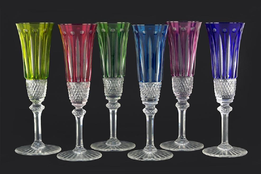 A Set of Six St. Louis Crystal Champagne Flutes.