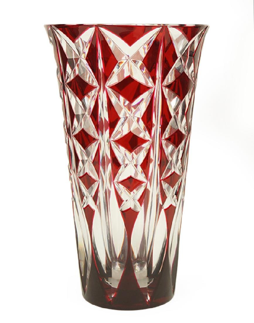 A St. Louis Ruby Cut-To-Clear Crystal Vase.