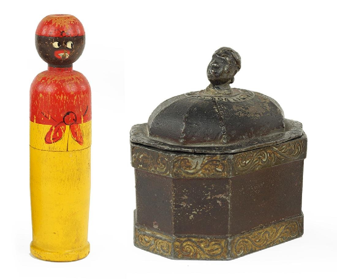 A Lead Tobacco Box With Figural Lid.