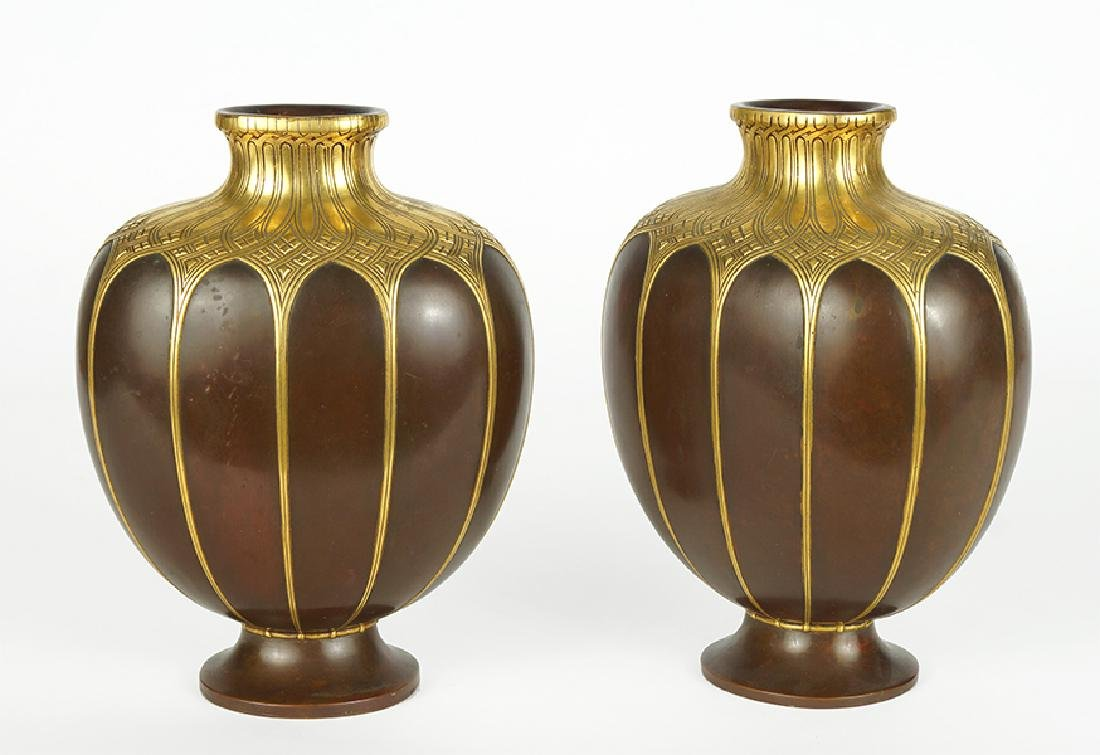 A Pair of Christofle Gilt Bronze Vases.