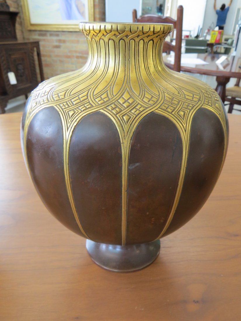 A Pair of Christofle Gilt Bronze Vases. - 5
