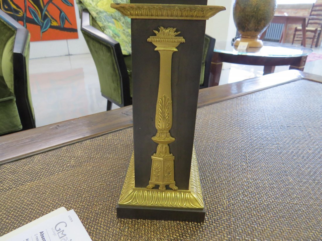 A Pair of French Empire Ormolu Mounted Bronze Oil - 10
