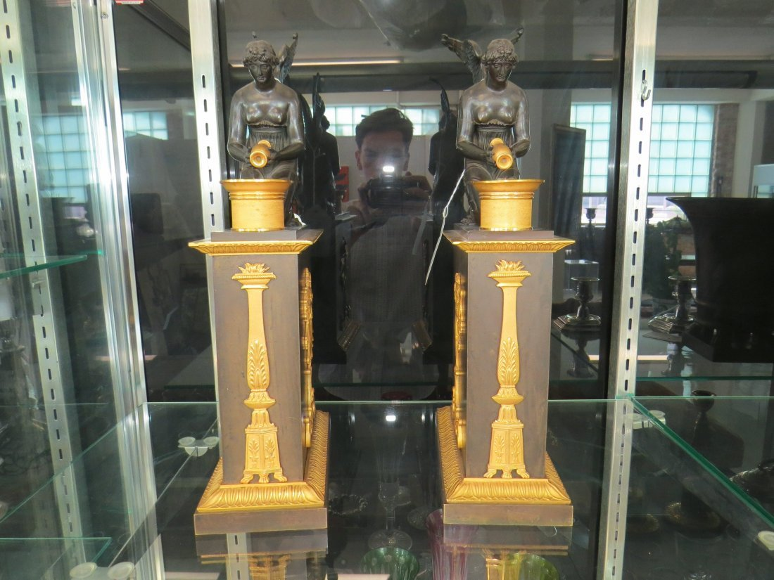 A Pair of French Empire Ormolu Mounted Bronze Oil - 2