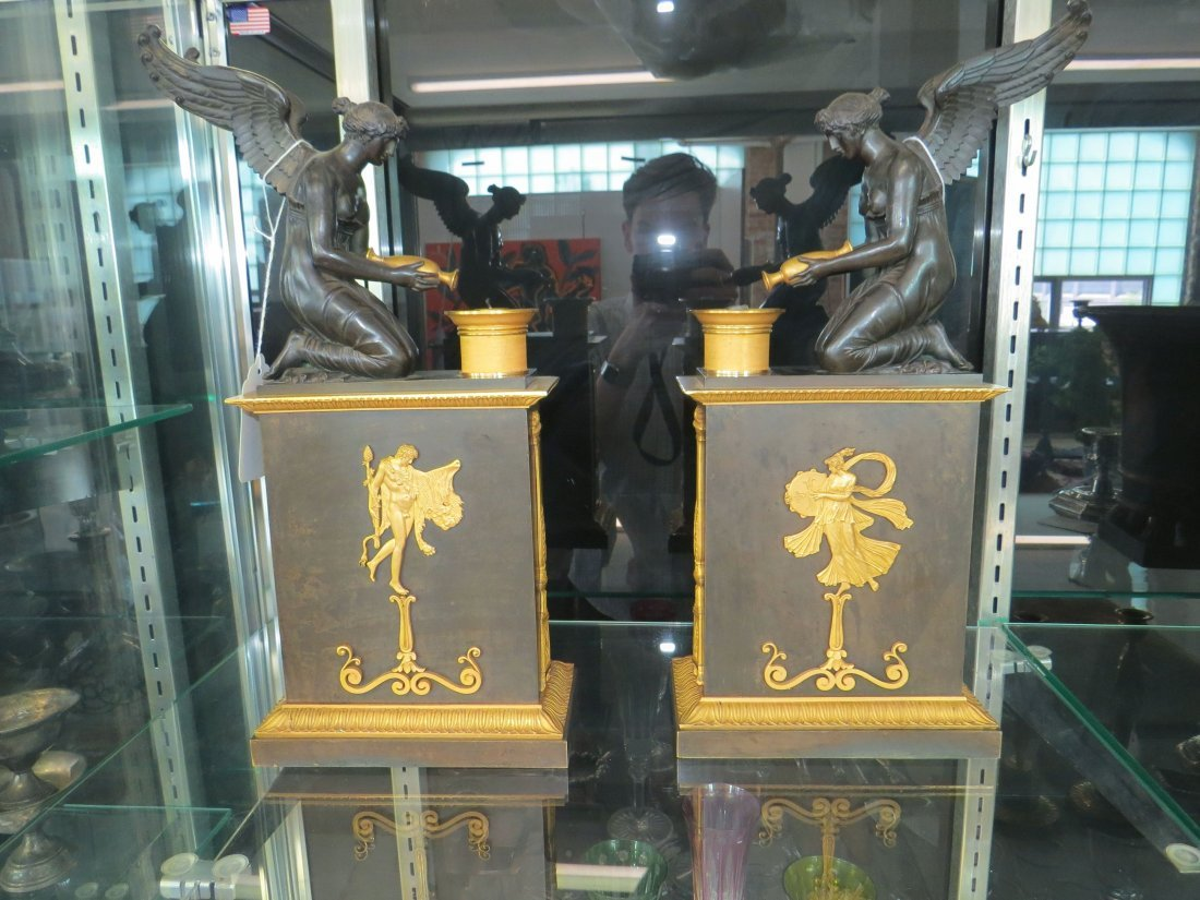 A Pair of French Empire Ormolu Mounted Bronze Oil - 3