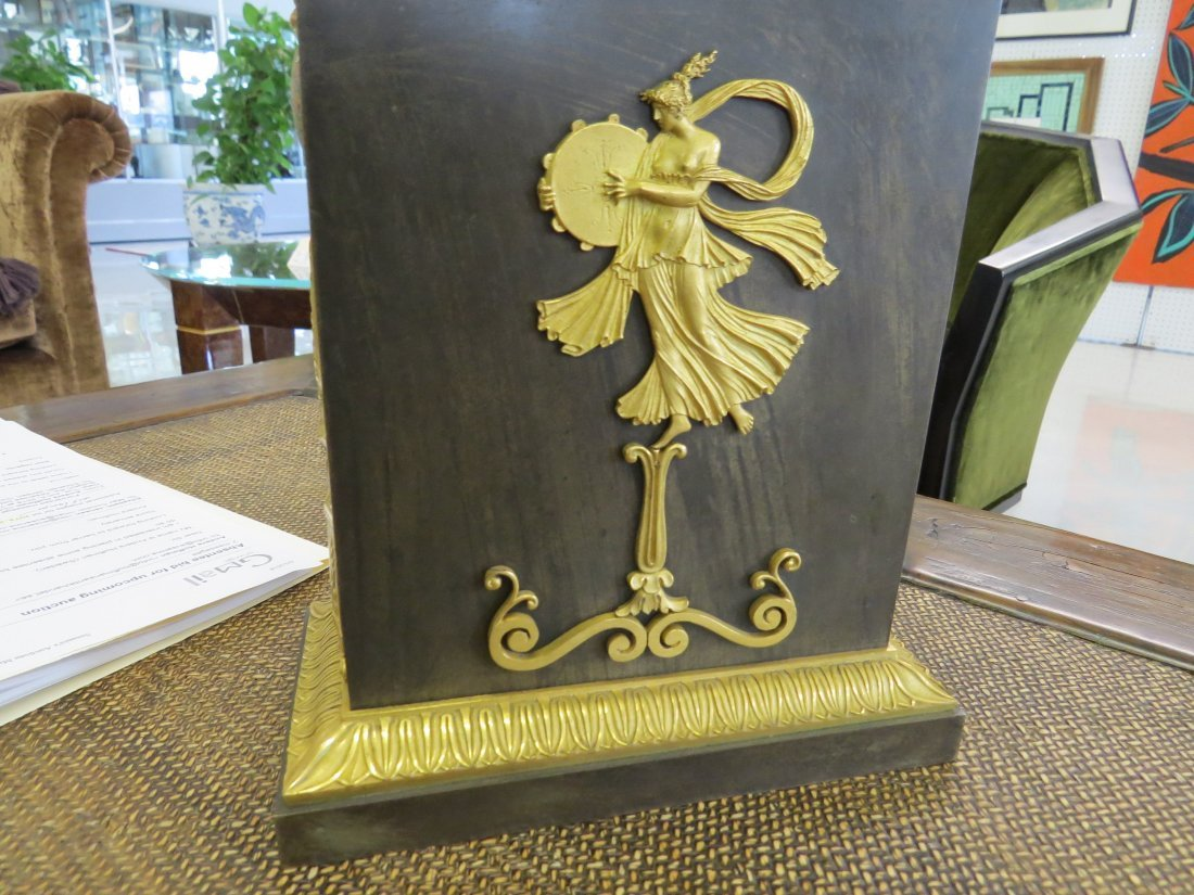 A Pair of French Empire Ormolu Mounted Bronze Oil - 9