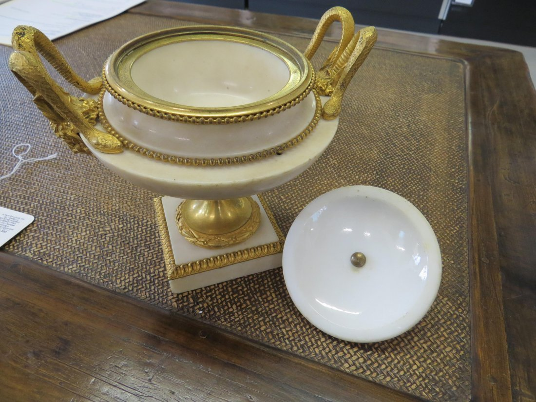 A Pair of Louis XVI Gilt Ormolu Mounted Marble Covered - 12