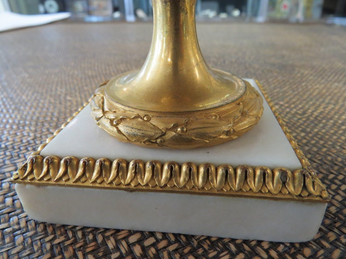 A Pair of Louis XVI Gilt Ormolu Mounted Marble Covered - 13