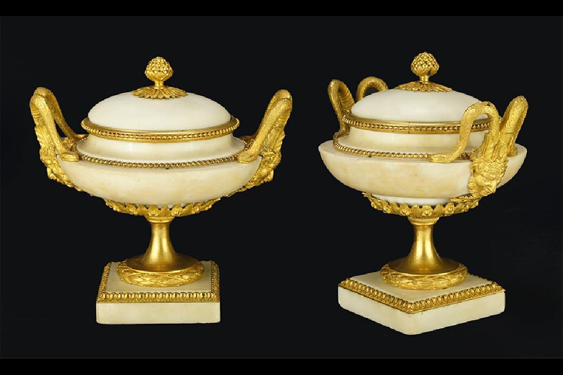 A Pair of Louis XVI Gilt Ormolu Mounted Marble Covered
