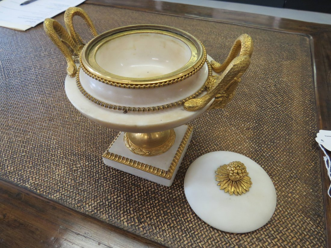 A Pair of Louis XVI Gilt Ormolu Mounted Marble Covered - 2