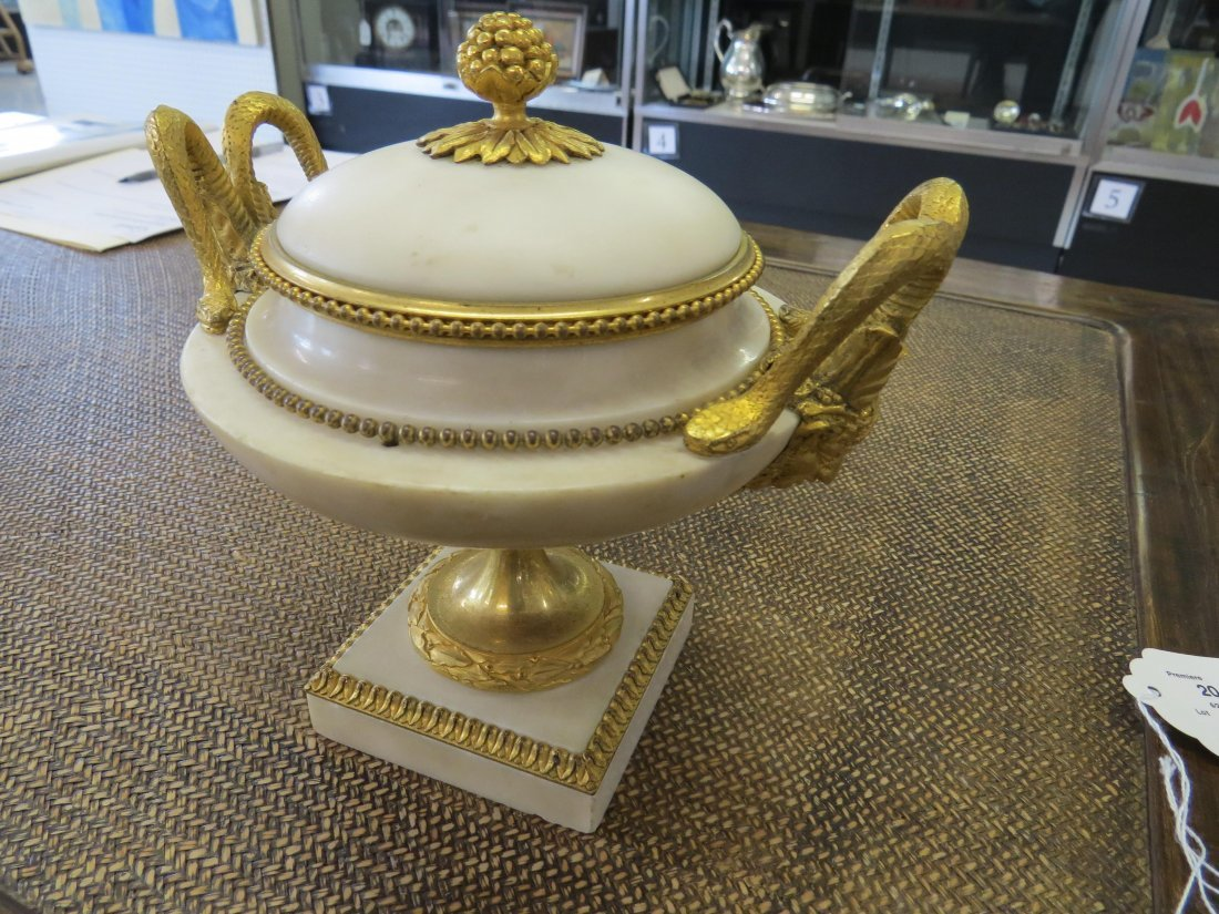 A Pair of Louis XVI Gilt Ormolu Mounted Marble Covered - 7