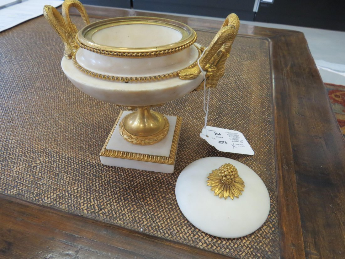 A Pair of Louis XVI Gilt Ormolu Mounted Marble Covered - 8