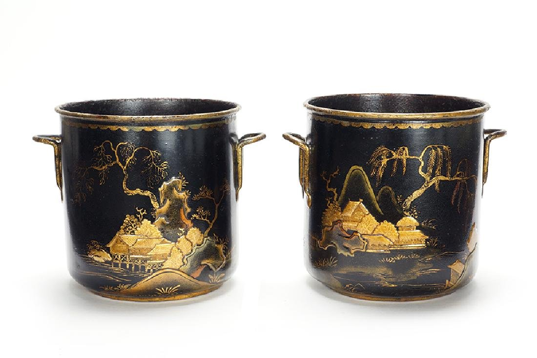 A Pair of Louis XV Chinoiserie Decorated Cache Pot.