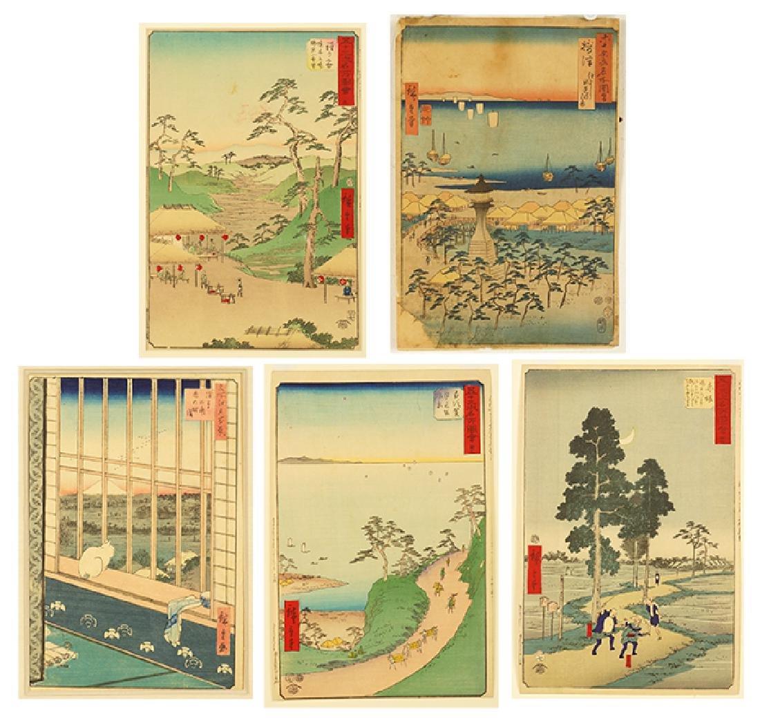Hiroshige (Japanese, 1797-1858) Five Color Woodcuts.