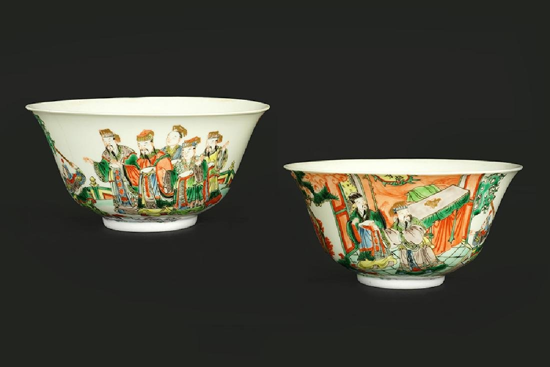 A Pair of Chinese Famille Verte Porcelain Bowls.