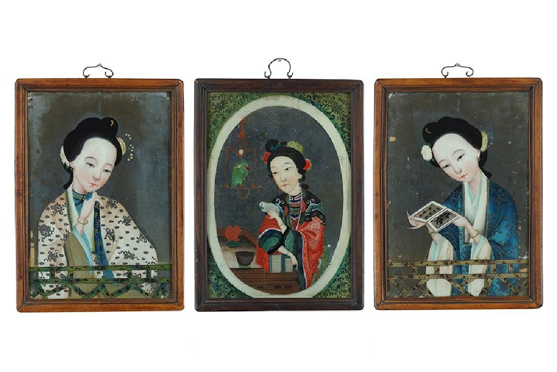 Three Chinese Reverse Paintings on Glass.