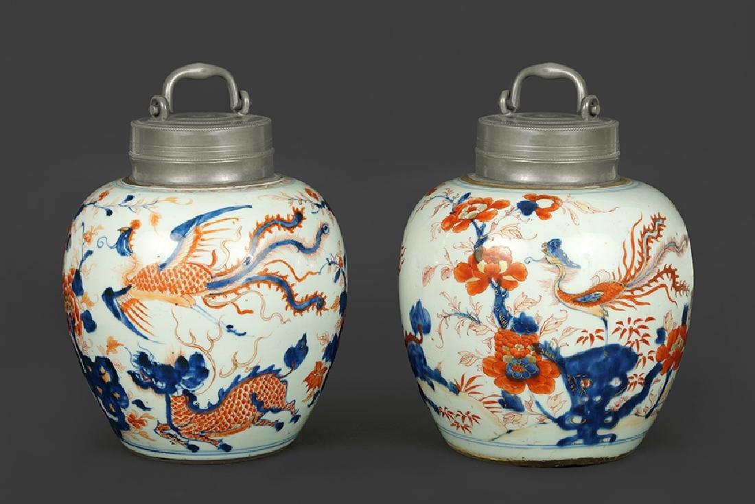 A Pair of 18th Century Chinese Porcelain Tea Caddies.