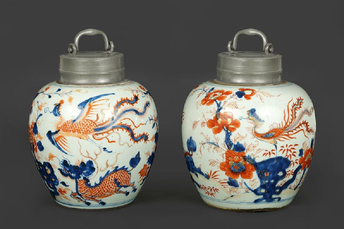 A Pair of 18th Century Chinese Porcelain Tea Caddies.