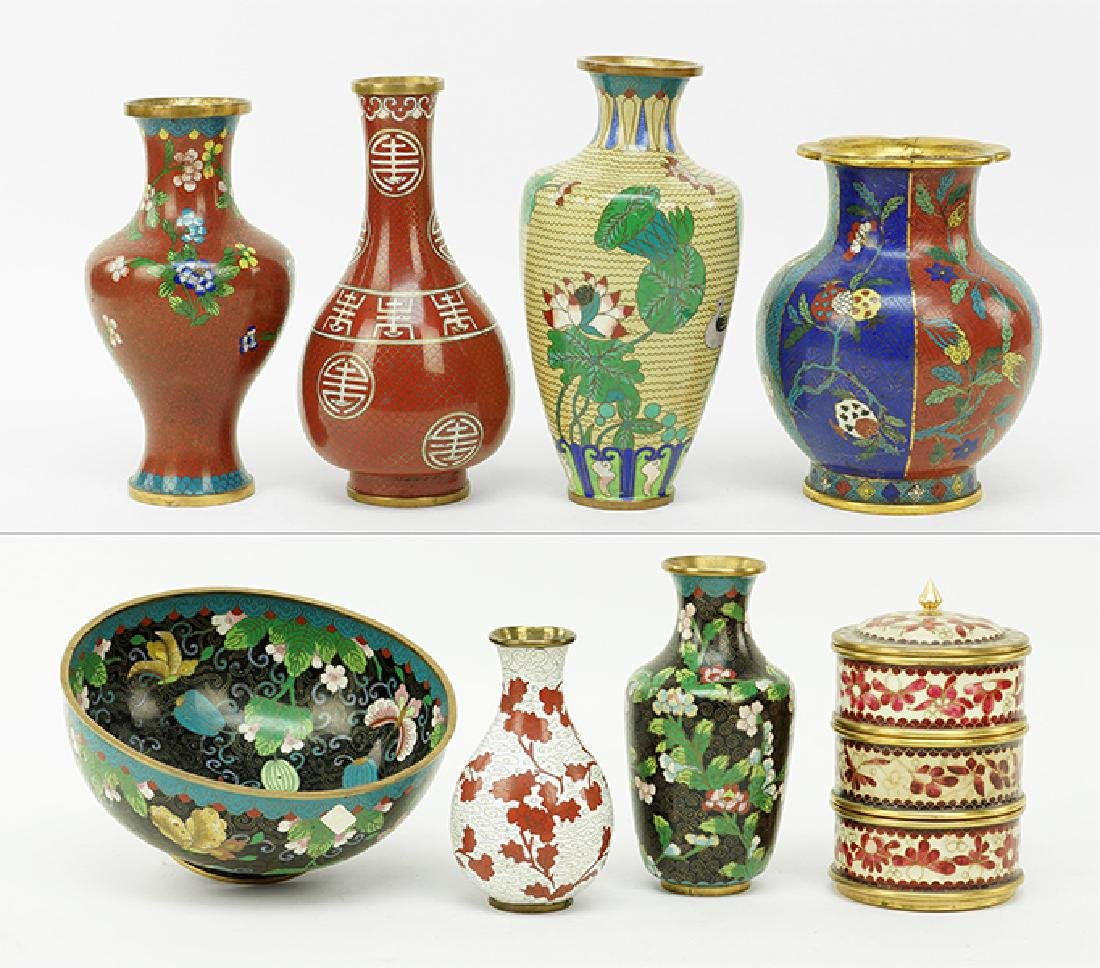 A Collection of Cloisonne Vases.