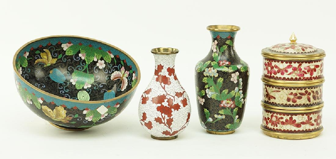 A Collection of Cloisonne Vases. - 2