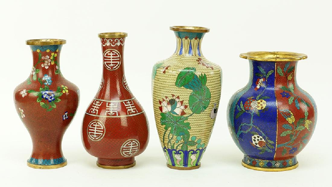 A Collection of Cloisonne Vases. - 3