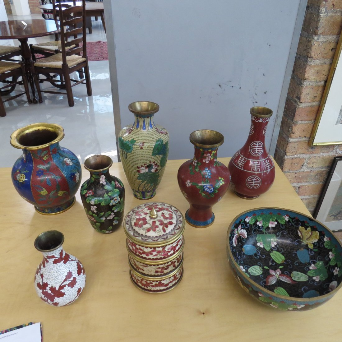 A Collection of Cloisonne Vases. - 4