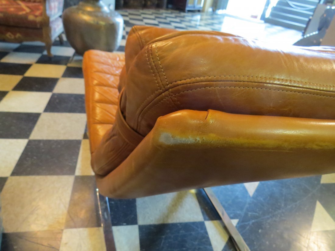 A Walter Knoll for Brayton Leather Chaise Longue. - 10