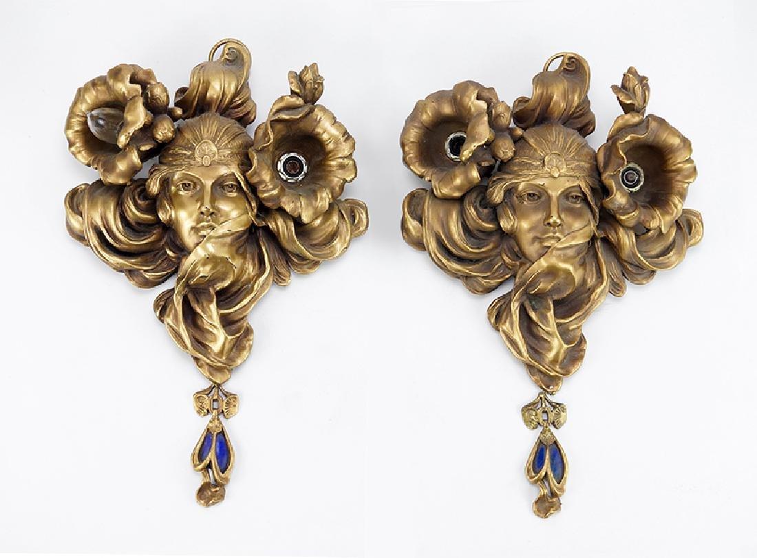 A Pair of Art Nouveau Style Sconces.