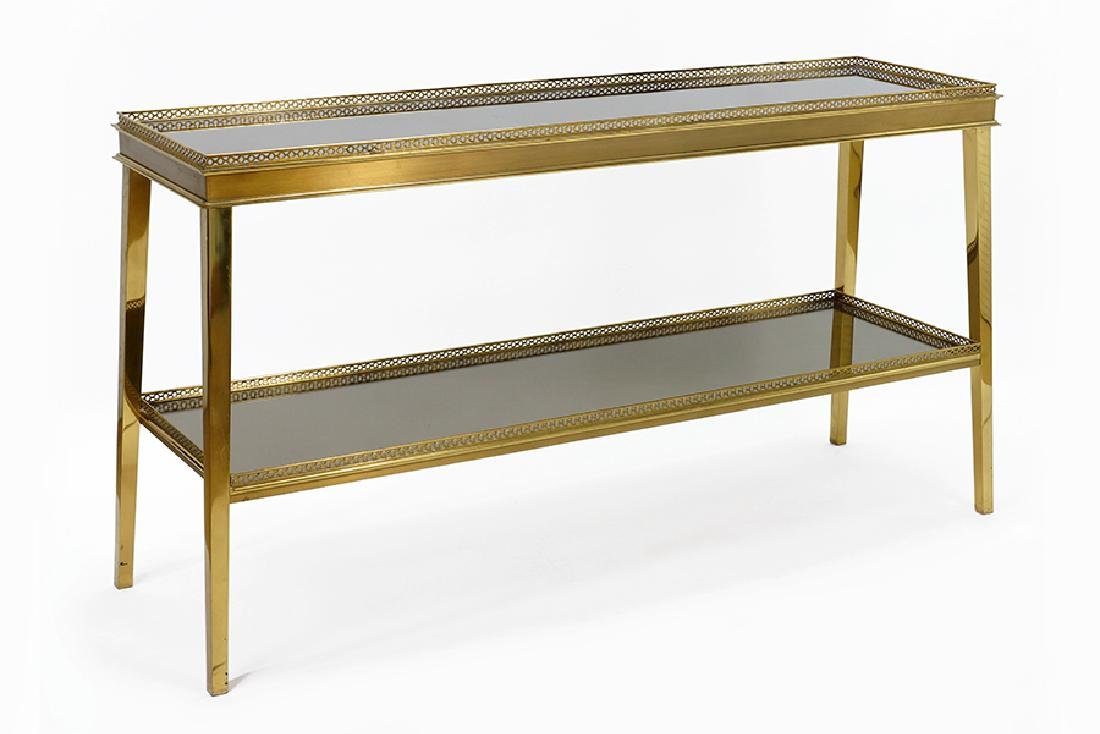 A 20th Century Brass Two-Tier Console Table.