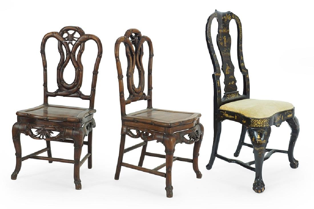 A Pair of Chinese Carved Hardwood Chairs.