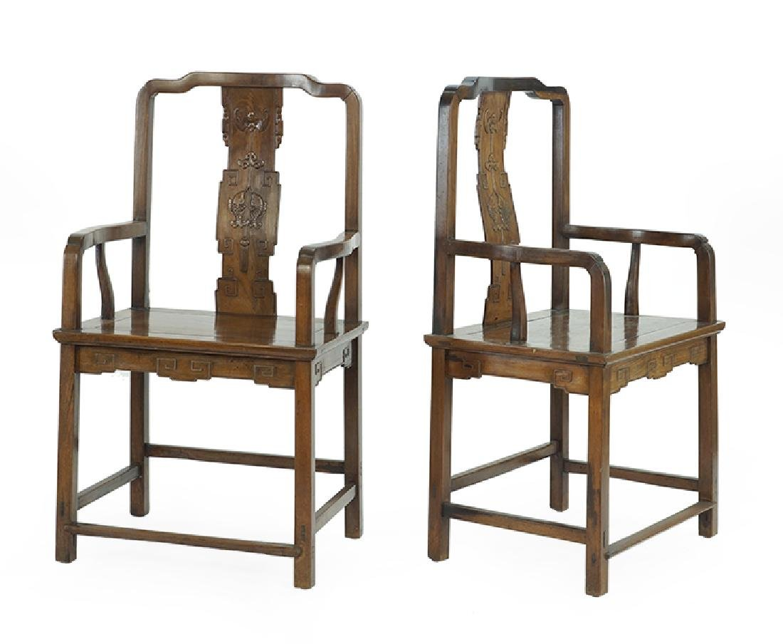 A Pair of Chinese Hardwood Palace Chairs.